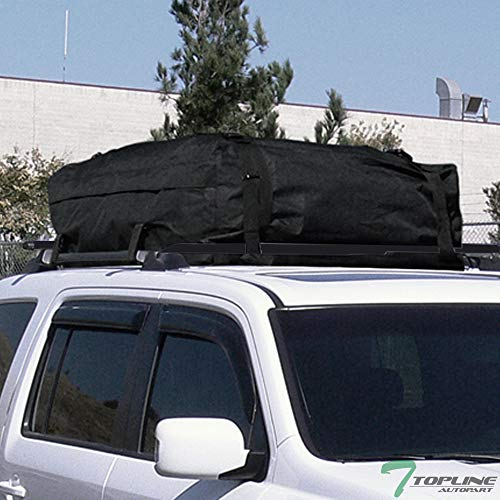 Black Square Type Roof Rail Rack Cross Bar Kit With Waterproof Cargo Carrier Bag T1 ()