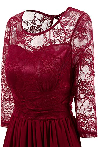 Dress Lace Vintage A Women's Swing Line Dress Dress Floral Avril 4 Cocktail 3 Prom Sleeve Party Burgundy3 qxnEZpvw