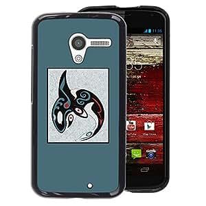 A-type Arte & diseño plástico duro Fundas Cover Cubre Hard Case Cover para Motorola Moto X 1 1st GEN I (Abstract Tribal Pattern Blue Whale Orca)