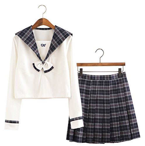Japanese School Uniform Adult Women, Halloween Sailor Cosplay Costume Outfit Student Use (S, Long Sleeve)
