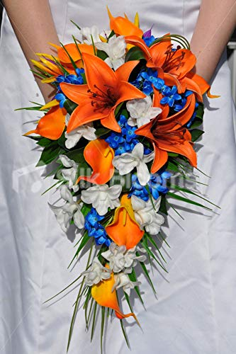 (Silk Blooms Ltd Artificial Bright Orange Oriental Lily and Dendrobium Orchid Wedding Cascade w/Blue Stephanotis)