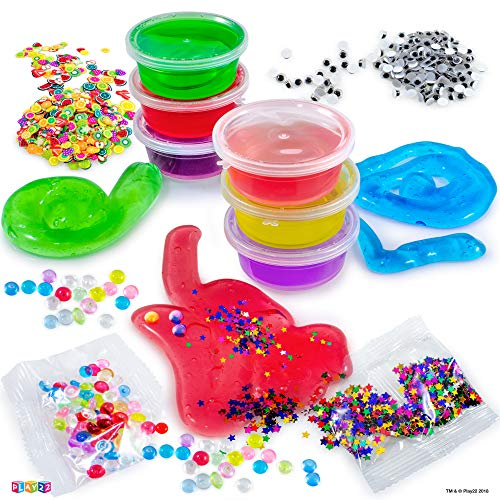 Play22 DIY Slime Kit for Kids - 18 Color Crystal Slime Making Kit, Includes Colorful Foam Balls, Fruit Face, Eyes, Stars, Glitter, Beads, Molds, Straws, Glow in Dark Powder and Much More – Original by Play22 (Image #2)