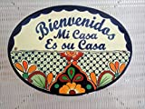 Hand Painted Hanging Talavera Welcome Plaque - Large