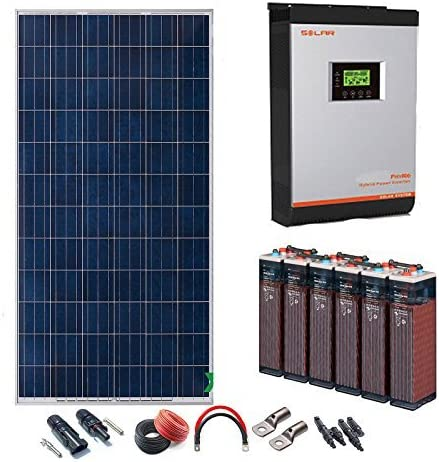 Kit Solar 24v 2400w/12000w día Batería 6OPzS 900Ah Inversor Multifunción 3kva Regulador MPPT 60A