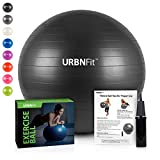 URBNFit Exercise Ball (65 CM) for Stability & Yoga - Workout Guide Incuded - Professional Quality (Black)