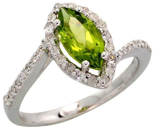 Stone Ring, w/ 0.32 Carat Brilliant Cut Diamonds & 1.17 Carats 10x5mm Marquise Cut Peridot Stone, 1/2