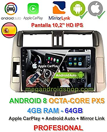 Radio 2din GPS, Android 10, Pantalla IPS, OctaCore PX5 64bits, 4GB DDR3 RAM, 64GB Apple Car Play Android Auto Toyota Land Cruiser KDJ150 Anterior al restyling: Amazon.es: Electrónica
