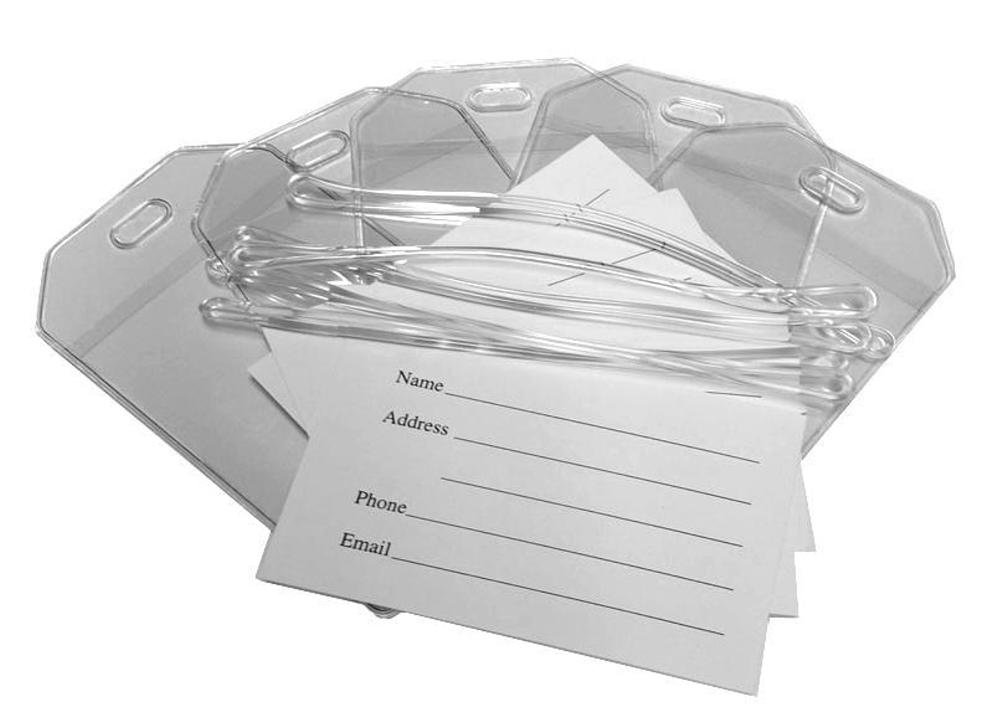 Clear Vinyl Luggage Tags with Loops & Name Cards - Set of 100