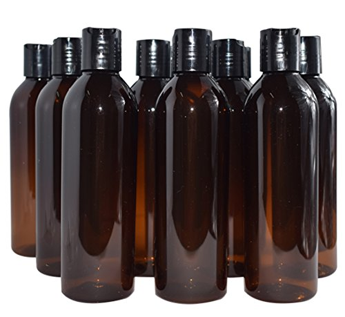 Bekith 12 Pack 8 ounce Amber Empty Plastic Bottles with Disc Top Flip Cap; BPA-Free Refillable Containers For Shampoo, Lotions, Liquid Body Soap, Creams Black Flip Top Lids