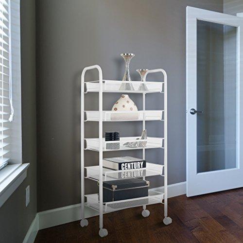 Floureon 5-Tier Metal Mesh Rolling Cart Trolly Organizer Shelves Handle Portable Utility, Easy Moving