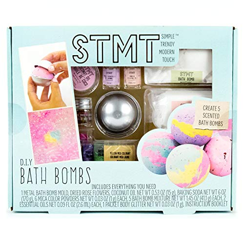 STMT D.I.Y. Bath Bombs Kit by Horizon Group USA, Mix & Mold Your Own 5 Scented Bath Bombs Using Essential Oils, Dried Rose Petals & More, Multicolored