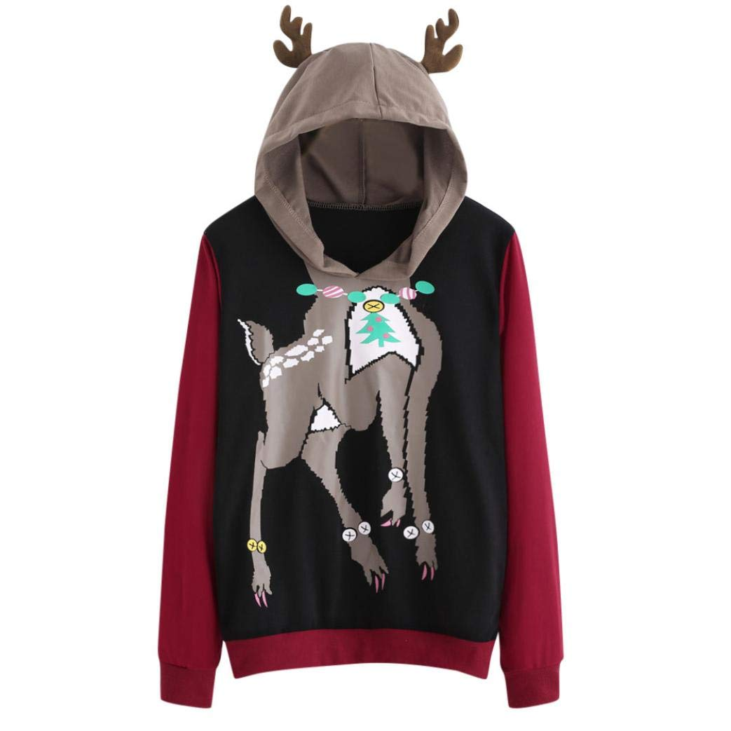 Womens Christmas Elk Jumper Sweatshirt, Autumn Winter Casual Long Sleeve Elk Deer Antlers Sweatshirt Hooded Pullover Tops Blouse Cute Sweater Christmas Ladys Gift