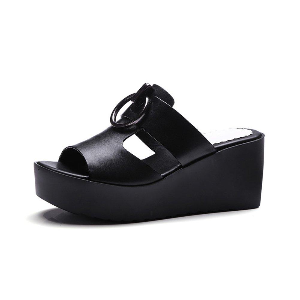 PENGFEI Zapatillas Pantofola Verano De Las Mujeres Fondo Grueso Cuña Playa Antideslizante, Altura del Talón 7.5CM, 2 Colores (Color : Negro, Tamaño : EU37/UK5/US6.5/235) EU37/UK5/US6.5/235|Negro