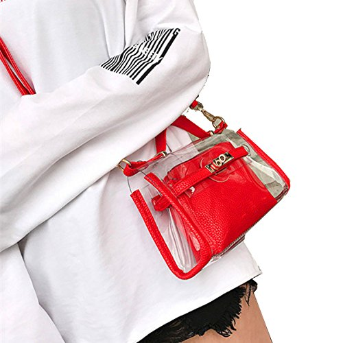 (Youndcc Clear Cross-Body Messenger Bag Shoulder Bag Shoulder Purse Crossbody Purse with Inner Bag, Adjustable Strap, Transparent, Waterproof, NFL Stadium Approved (Red))