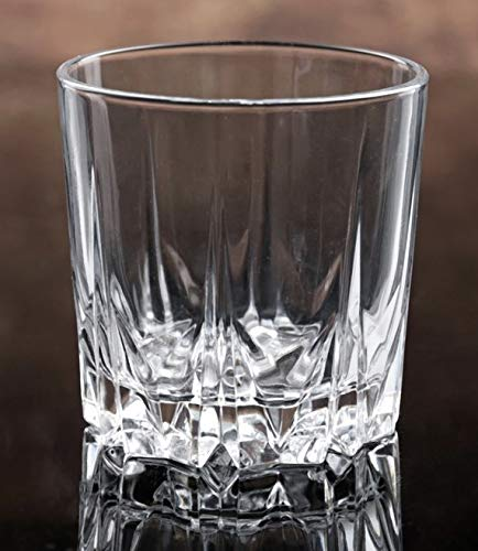 Crystal Whiskey Glasses Set of 4 - New Style Old Fashioned Drink Glasses - Glassware set - Scotch Brandy or Bourbon Tumblers, 8.5 oz