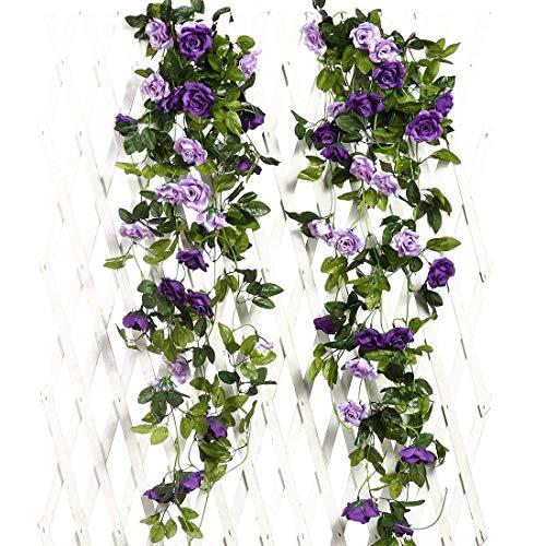 JUSTOYOU Artificial Rose Vines Flowers Garland Hanging Silk Rose Vine Wedding Home Office Arch Arrangement Decoration 2PCS 15.8FT(Purple)