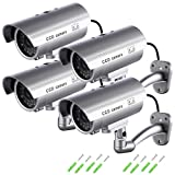 Maxesla Fake Security Camera with Illuminating LEDs 4 Pack Bullet Dummy Fake Surveillance CCTV Decoy Realistic Look Surveillance System Indoor / Outdoor Waterproof For Businesses, Shops, Home + Warnin