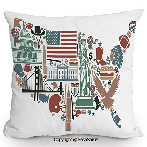 FashSam Polyester Throw Pillow Cushion Traditional Symbols in The Form of United States of America Map Travel Landmarks Flag Decorative for Sofa Bedroom Car Decorate(16
