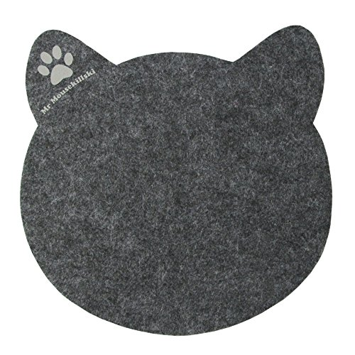 MR MOUSEKILLSKI - stylisches Mousepad aus hochwertigem Filz | perfekt für Katzenliebhaber | vielfältig einsetzbar als originelle Unterlage| hervorragende Anti-Rutsch-Beschichtung | anthrazit