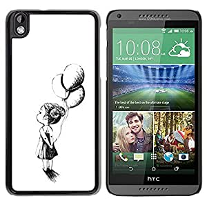 Paccase / SLIM PC / Aliminium Casa Carcasa Funda Case Cover - Girl Mother White Black Ink - HTC DESIRE 816