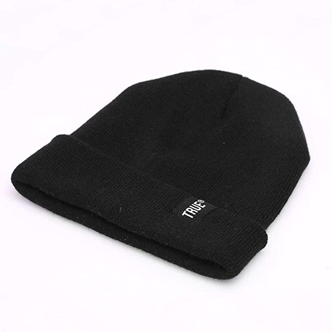 Letter True Casual Beanies for Men Women Fashion Knitted Winter Hat Solid Color Hip-hop Skullies Bonnet Unisex Cap Gorros (Black) at Amazon Mens Clothing ...