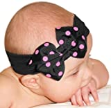 Baby Girls Polka Dot Bow Baby Headband From Funny Girl Designs -- Many Colors Available Fits Newborn - 12 Months