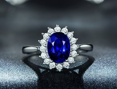 Solid 18k white gold promise ring,0.12ct SI-H Diamond engagement ring,0.56ct Oval Natural Blue Sapphire,Pave set ()