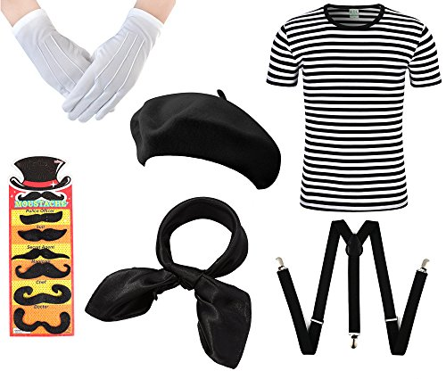 Mens French Man Fancy Dress Costume France 6 PC Set Waiter Stag Party Outfit -