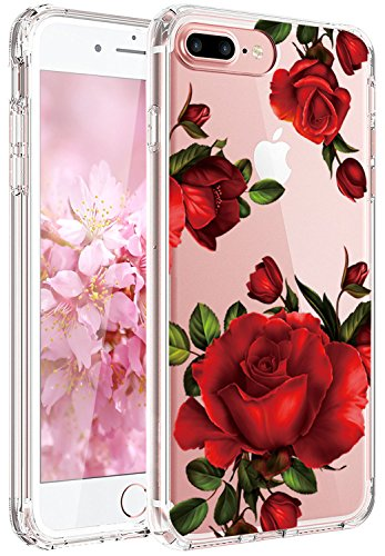 Red Roses Iphone - JAHOLAN Cute Girl Floral Design Clear TPU Soft Slim Flexible Silicone Cover Phone Case Compatible with iPhone 7 iPhone 8 - Beautiful Red Rose