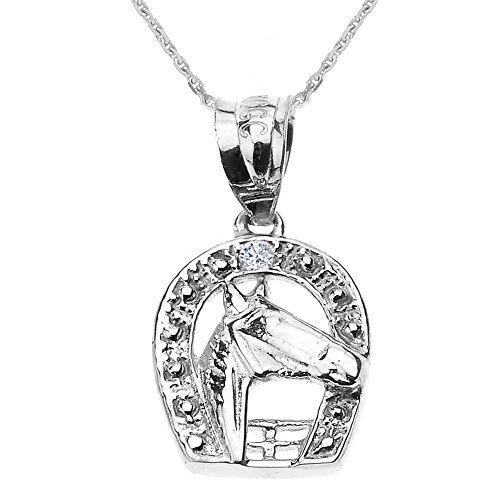 925 Sterling Silver Lucky Diamond Horseshoe with Horse Head Pendant Necklace, 16