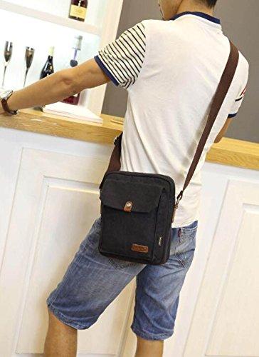 Tracolla Nero Organizzatore Di Tasche Bag Multiple Super Spalla Fionda Tela ™ Con A Piccola Messenger Pacchetto D'epoca Uomini Durevoli Mano Della Moderno XwXq17z
