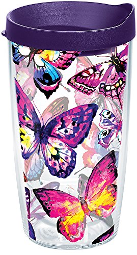 Tervis 1284667 Butterfly Passion Tumbler with Wrap and Royal Purple Lid 16oz, Clear