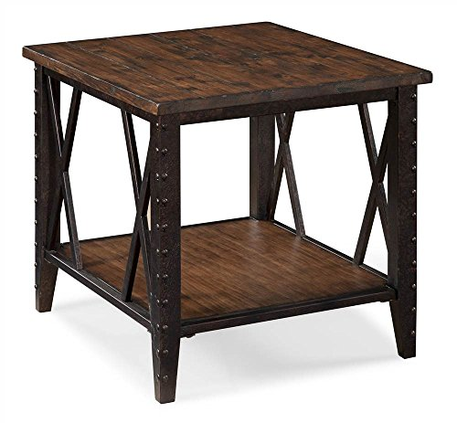 """Magnussen T1908 Fleming Wood and Metal Rectangular End Table - Constructed from pine veneers with pine solids & metal All pieces feature bottom shelf with metal tube """"x"""" stretcher All pieces are constructed of pine solid on top with pine veneer on shelves with metal - living-room-furniture, living-room, end-tables - 51WYT13OpjL -"""