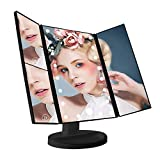 Makeup Mirror Vanity Mirror LED Lighted Trifold Cosmetic Mirror With 1X/2X/3X Magnification, 21