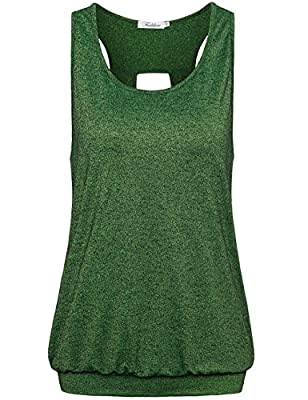 Faddare Women's Comfy Scoop Neck Open Back Burnout Workout Yoga Tank Tops Shirt