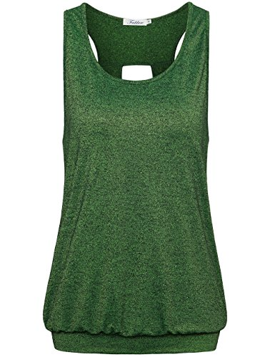 Faddare Raceback Blouse, Teen Girls Loose Fit Sports Burnout Active Tanks for Women,Black Green L Banded Tank