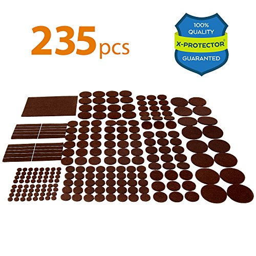 X-PROTECTOR Premium GIANT Pack Furniture Pads 235 piece! HUGE QUANTITY of Felt Pads Furniture Feet with MANY BIG SIZES – Your Best Wood Floor Protectors. Protect Your Hardwood & Laminate Flooring!