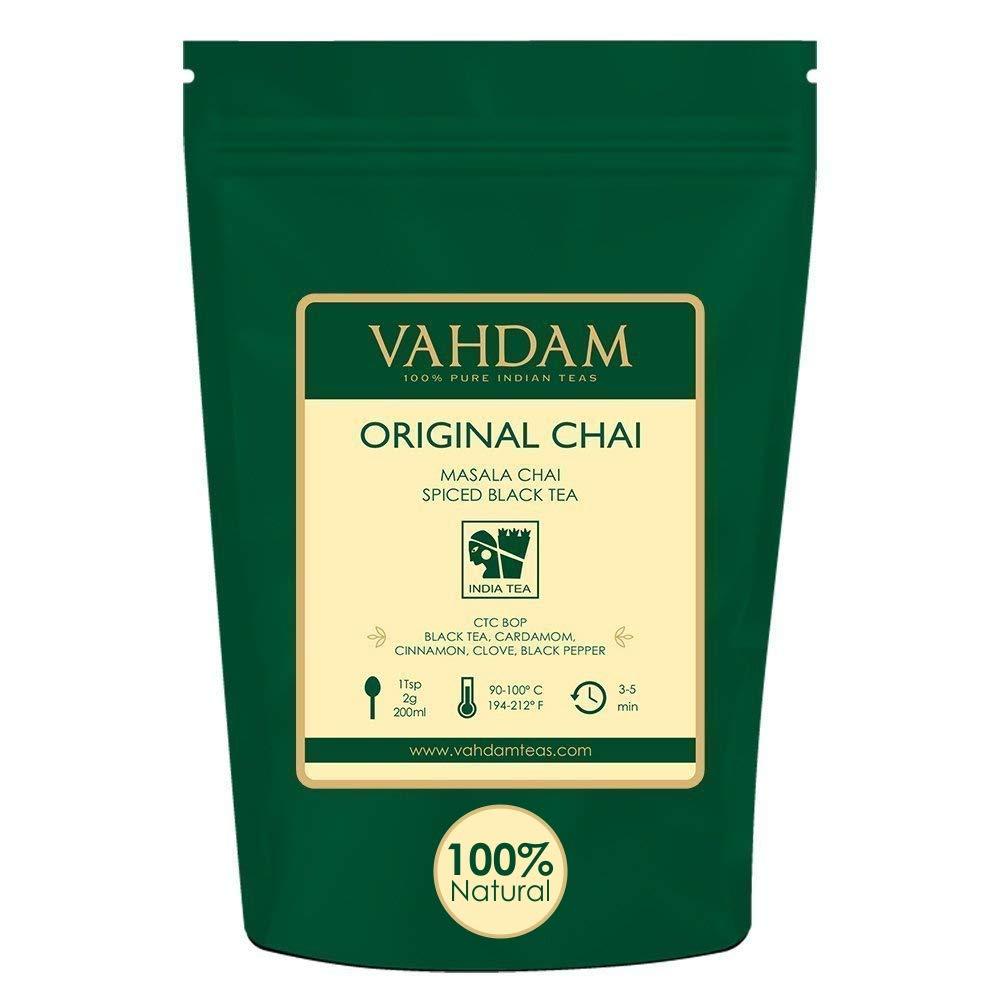 VAHDAM, India's Original Masala Chai Tea Loose Leaf (200+ Cups) | 100% NATURAL INGREDIENTS | Black Tea, Cinnamon, Cardamom, Cloves & Black Pepper | Brews Chai Latte | Indian House Recipe | 16oz Bag by VAHDAM