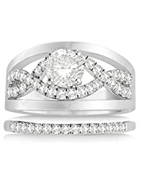 Split Shank and Infinity Engagement Ring Bridal Set Palladium (0.25ct) (No center stone included)