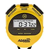 MARATHON ST083009 Adanac 4000 Digital Stopwatch Timer with Extra Large Display and Buttons, Water Resistant, One Year Warranty - Yellow