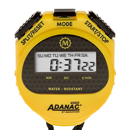 MARATHON ST083009 Adanac 4000 Digital Stopwatch Timer with Extra Large Display and Buttons, Water Resistant, Two Year Warranty - Yellow (Mechanical Stopwatch)