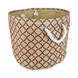 DII Collapsible Burlap Storage Basket or Bin with Durable Cotton Handles, Home Organizational Solution for Office, Bedroom, Closet, Toys, Laundry (Large Round - 16x15), Wine Lattice Outline