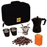 Compact Portable Coffee Maker Kit for Coffee Lovers – Camping Gear Gourmet Coffee Set for Hiking, Backpacking, Outdoor, Off Road – Italian Coffee Machine, Propane Burner, 2 Coffee Cups,Travel Bag.