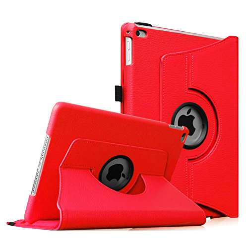 Fintie iPad Air 2 Case (2014 Release) - 360 Degree Rotating Stand Protective Case Smart Cover with Auto Sleep / Wake Feature for Apple iPad Air 2, Red