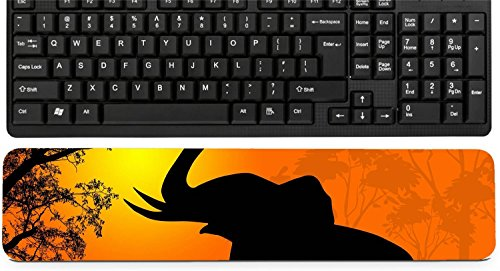 Liili Keyboard Wrist Rest Pad Long Extended Arm Supported Mousepad IMAGE ID: 17147833 Wild elephants at sunset on beautiful landscape illustration