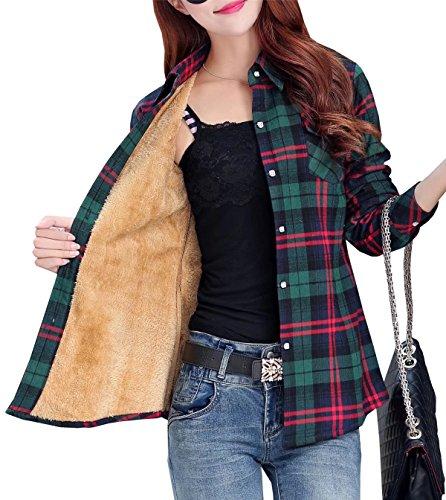 EMAOR Women's Button Front Plaid Fleece Lined Flannel Shirt ()