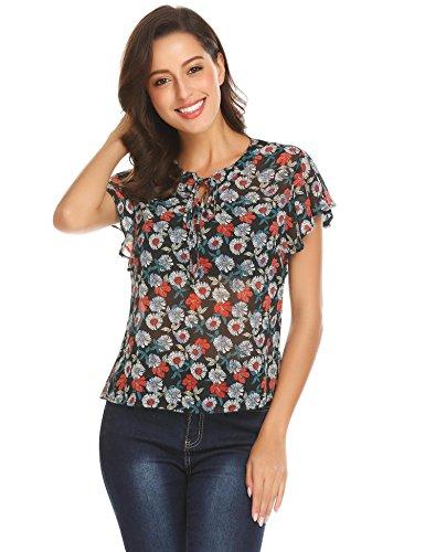 Dealwell Women's Casual Short Sleeve Floral Print Chiffon Blouse Shirts Tops (Pattern 1 XXL)