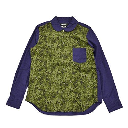 広告する無駄だそれる(ブラックコムデギャルソン) BLACK COMME des GARCONS 12SS AD2011 迷彩柄切替丸襟 長袖シャツ