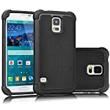 Galaxy S5 Case, Tekcoo(TM) [Tmajor Series] [Black/Black] Shock Absorbing Hybrid Rubber Plastic Impact Defender Rugged Slim Hard Case Cover Shell For Samsung Galaxy S5 S V I9600 GS5 All Carriers