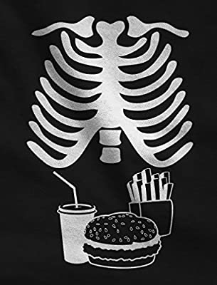 Halloween Xray Skeleton Junk Food Belly Xray Funny Men's T-Shirt